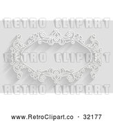 Vector Clip Art of a Retro White Ornate Floral Frame in Black and White by AtStockIllustration