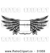 Vector Clip Art of a Retro Winged Shield Insignia with a Banner Scroll in Black and White by AtStockIllustration
