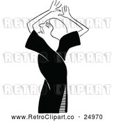 Vector Clip Art of a Retro Woman Acting by Prawny Vintage