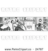 Vector Clip Art of a Retro Woman Fainting in Black and White by Prawny Vintage