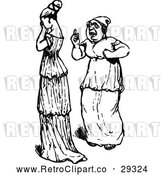 Vector Clip Art of a Retro Woman Talking to a Sad Young Lady by Prawny Vintage