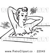 Vector Clip Art of a Retro Young Lady Relaxing in a Hot Bubble Bath by BestVector
