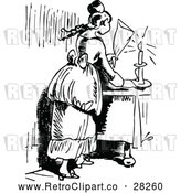 Vector Clip Art of a Retro Young Lady Snuffing out a Candle by Prawny Vintage