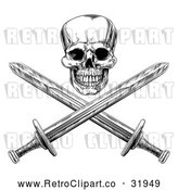 Vector Clip Art of a Ruthless Retro Human Skull Maliciously Grinning with Crisscrossed Swords by AtStockIllustration