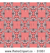 Vector Clip Art of a Seamless Retro Pink Background of Butterflies Repeating Blank Squares by AtStockIllustration