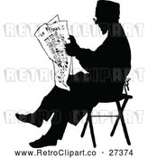 Vector Clip Art of a Silhouetted Retro Man Reading the Newspaper by Prawny Vintage