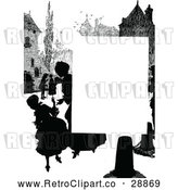 Vector Clip Art of a Silhouetted Retro Village with People and Blank Text Space by Prawny Vintage