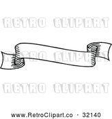 Vector Clip Art of a Small Blank Retro Black and White Scroll Banner by AtStockIllustration