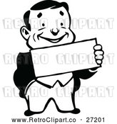 Vector Clip Art of a Smiling Retro Business Man Holding a Sign by Prawny Vintage