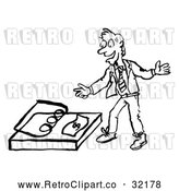 Vector Clip Art of a Smiling Retro Business Man Reaching for Money Bait Trap in Black and White by AtStockIllustration