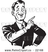 Vector Clip Art of a Smiling Retro Businessman Pointing Finger up by BestVector