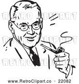 Vector Clip Art of a Smiling Retro Man Smoking a Pipe by BestVector