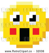 Vector Clip Art of a Surprised Retro 8-Bit Emoji Smiley Face Froze with Shocking Expression by AtStockIllustration