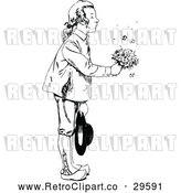 Vector Clip Art of a Thoughtful Retro Boy Giving Flowers by Prawny Vintage