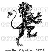 Vector Clip Art of a Vicious Black Retro Heraldic Lion Rearing up with Aggressive Intentions by AtStockIllustration