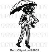 Vector Clip Art of African Guy with a Pipe and Umbrella by Prawny Vintage