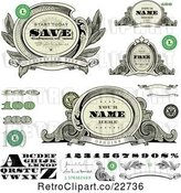 Vector Clip Art of Alphabet, Number, and Money Design Elements by BestVector