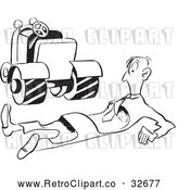 Vector Clip Art of an Injured Retro Worker Beside Roller Machine on Wheels by Picsburg