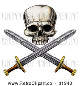 Vector Clip Art of an Intimidating Retro Pirate Skull and Cross Swords by AtStockIllustration