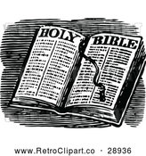 Vector Clip Art of an Open Retro Holy Bible by Prawny Vintage