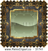 Vector Clip Art of an Ornate Olive Green, Gray and Gold Frame by AtStockIllustration