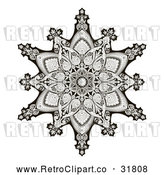 Vector Clip Art of an Ornate Retro Black and White Arabic Middle Eastern Floral Motif Snowflake Pattern by AtStockIllustration
