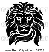 Vector Clip Art of an Unforgiving Retro Black Male Lion Fiercely Fixated with Deadly Intentions Death Stare by AtStockIllustration