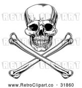Vector Clip Art of an Unforgiving Retro Jolly Roger Skull Above Crossbones in Black and White by AtStockIllustration