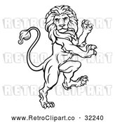 Vector Clip Art of an Unstoppable Retro Rampant Lion in Black Lineart by AtStockIllustration