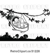 Vector Clip Art of Baby in a Cradle Hanging from a Tree by Prawny Vintage