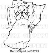 Vector Clip Art of Baby Resting Against Pillows by Prawny Vintage