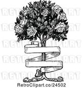 Vector Clip Art of Banner and Rose Bush by Prawny Vintage