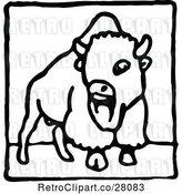 Vector Clip Art of Bison Icon by Prawny Vintage