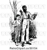 Vector Clip Art of Black Guy Reading with a Boy by Prawny Vintage