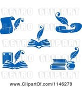 July 21st, 2018: Vector Clip Art of Blue Quill Pens Books and Letters by Vector Tradition SM