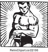 Vector Clip Art of Bodybuilder Lifting with One Arm by BestVector