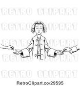 Vector Clip Art of Boy Accepting Money by Prawny Vintage