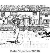 Vector Clip Art of Boy and Chickens in a Yard by Prawny Vintage