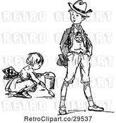 Vector Clip Art of Boy and Digging Girl by Prawny Vintage