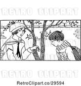 Vector Clip Art of Boy and Girl Under a Tree by Prawny Vintage