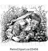 Vector Clip Art of Boy and Girl with Their Dog in the Bushes by Prawny Vintage