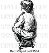 Vector Clip Art of Boy Sitting on a Stool by Prawny Vintage