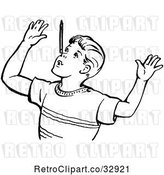 Vector Clip Art of Boy Throwing up His Arms in by Picsburg