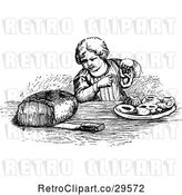 Vector Clip Art of Boy with Bread Pastries and a Pretzel by Prawny Vintage