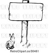Vector Clip Art of Bunny Under a Sign by Prawny Vintage