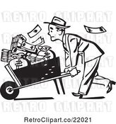 Vector Clip Art of Business Man Pushing a Wheel Barrow of Cash to the Left by BestVector