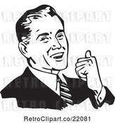 Vector Clip Art of Business Man Smiling, Leaning Back and Gesturing with His Thumb by BestVector