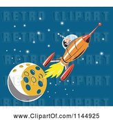 July 21st, 2018: Vector Clip Art of Cartoon Astronaut and Rocket by the Moon by Patrimonio
