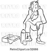 Vector Clip Art of Cartoon Bored Guy Eating His Lunch by Picsburg