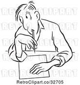 Vector Clip Art of Cartoon Guy Glancing to Cheat on a Test by Picsburg
